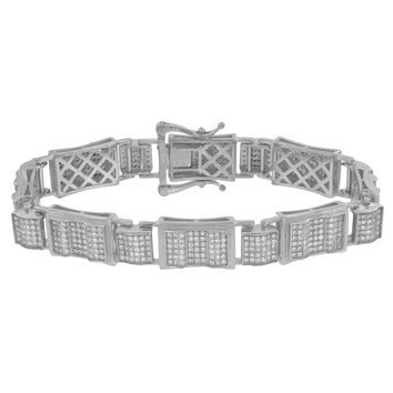 Sterling Silver Mens Bracelet Simulated Diamonds Pave Set Classy 8.5 Inch New
