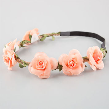 Full Tilt Delicate Flower Crown Headband Peach One Size For Women 25805770601