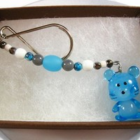 Blue Glass Mouse Charm on Beaded Key Ring, Handmade, Glass Beads