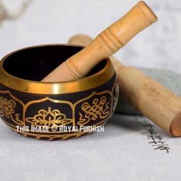 Tibetan Meditation Yoga Singing Bowl Set with Stick and Cushion 4 Inch on RoyalFurnish.com