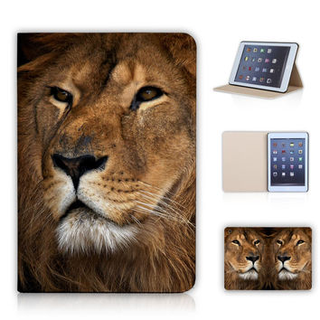 Animal Face Lion Folk Panda Elephant Painted Stand Tablet Cover for ipad mini 1/2/3 For Apple tablet Case Sleep/Wake Mode