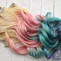 "Pastel Tie Dye Hair, Blonde Ombre Hair Extensions, Pastel Pink, Blue and Purple, (7)Pieces, 18""/Customize your Base"
