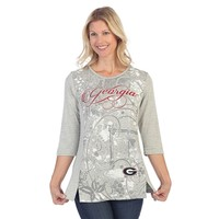 Georgia Bulldogs Script Print Shirt | UGA Ladies 3/4 Sleeve Shirt | UGA Ladies Script Print 3/4 Sleeve Shirt