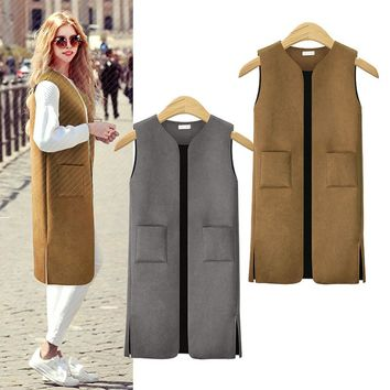 Autumn Winter Long Pocket V-neck Brief Suede Side Slit Waistcoat Ladies Solid Color Weskit Vest Jacket