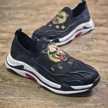 Balenciaga Triple-s Knit Ht0949 Black With Lion Head Sport Shoes - Best Online Sale