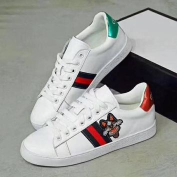 GUCCI Women Fashion Embroidery Old Skool Sneakers Sport Shoes