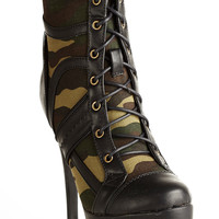 Contemporary Camo Combat Heeled Bootie