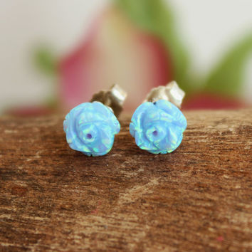Blue opal earrings, Carved Rose flower stud earrings, opal post earrings, sterling silver earrings, women jewelry, opal jewellery