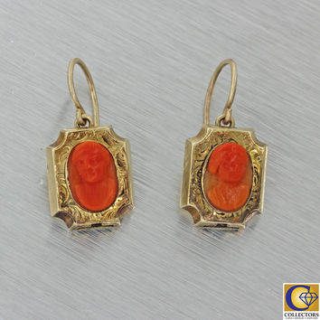 1880s Antique Victorian 14k Solid Yellow Gold Carved Red Coral Cameo Earrings