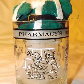 vintage Pharmaceutical bar Glass by Libby 1776-1976 History of Pharmacy
