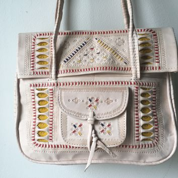 Fine Quality Embossed Leather and Vintage Turkish -  Cross Body Bag / Tote / Shoulder Strap