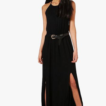 Rebecca High Neck Split Front Maxi Dress | Boohoo