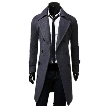 Peacoat Spring/Fall Fashion Men's Woolen Outerwear Winter Pea Overcoat Peacoats Double Breasted Trench Coats Woolen Coat