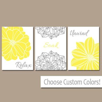 Flower BATHROOM DECOR, CANVAS or Prints, Yellow Gray Bathroom Wall Art, Relax Soak Unwind, Bathroom Quote Pictures, Set of 3 Bath Decor