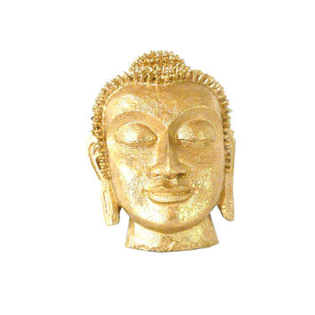 buddha head, metallic gold, wall decor, buddha mask, golden, buddha wall art