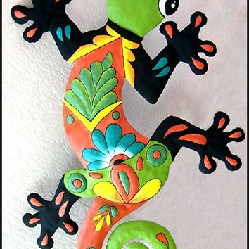 "Gecko Hand Painted Metal 18"" Wall Hanging  - Cut from recycled steel drums - 401-GR"