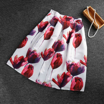 women skirt Floral Print Elastic High Waist Midi Skirt Knee Length A Line Pleated Vintage Skirt Red SM6