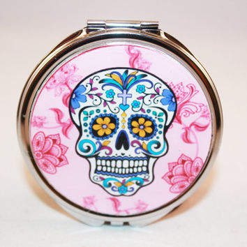 Pink Skull Compact Mirror