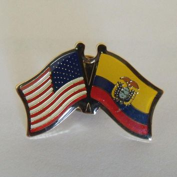 Bandera Ecuador Flag USA Lapel Pin Crossed Friendship Pin Cap Hat Tie Shirt Pin