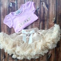 Four year birthday outfit! Ivory chiffon pettiskirt, petti skirt, pink, gold, lettering, chiffon girls skirt, toddler, outfit, pictures
