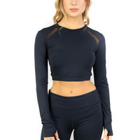 Black Steal The Show Active Crop Top