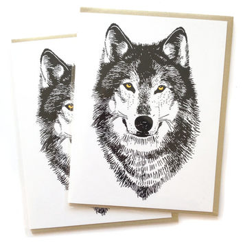 Single A2 size Wolf Greeting Cards, blank inside, awesome original werewolf spooky woodland design, recycled paper, made in Portland Oreogn