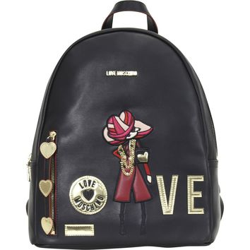 Love Moschino Women's Embroidered Fashionista Love Backpack Bag (Size: 13 H x 11 L x 6 D Inches, Color: Black)