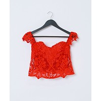 Better Not Ask Crop Top  - Red Lace