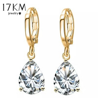17KM 8 Colors Fashion Classic Gold Color Crystal Water Earrings Wedding Jewelry