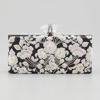 Marchesa Simonetta Embroidered Rectangle Box Clutch, Black/Pink