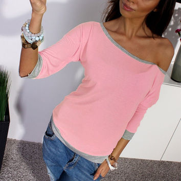 2016 Autumn Cotton Shirt ZANZEA Women Sexy Off Shoulder 3/4 Sleeve Casual Crew Neck Tee Tops Sexy Ladies T-shirt Candy Color