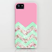 Girly Mint Green Pink Floral Block Chevron Pattern iPhone & iPod Case by Girly Trend