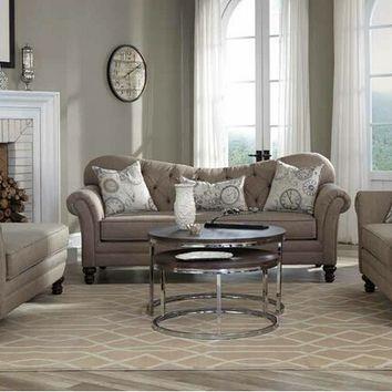 Coaster 505251-52 2 pc carnahan collection stone grey linen like fabric upholstered sofa and love seat set with rounded arms