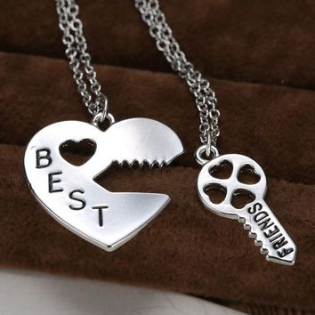 Christmas Gifts Vintage Puzzle  Pendant Necklace Handstamped Best Friends Jewelry Key&Heart Charms Couple Friendship Necklaces Pendants Engraved-Christmas gifts