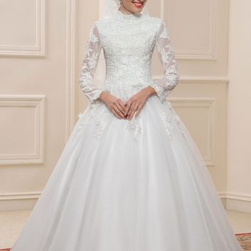 Dressv Muslim Lace Ball Gown Wedding Dresses Long Sleeves High Neck Arabic Bridal Gowns Applique Islamic wedding Dress For Dubai