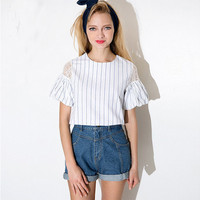 Blue And White Striped Sheer Mesh Lace Shoulder Puff Sleeves Blouse