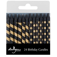 Black with Gold Stripes & Dots Birthday Candles
