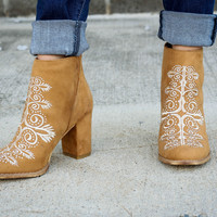 Camel Embroidered Booties