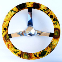 Large Sunflowers Steering Wheel Cover