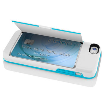 The White & Aqua STOWAWAY™ Credit Card Case with Integrated Stand for iPhone 5c