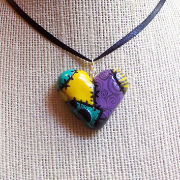 Sally Inspired Heart Pendant Nightmare Before Christmas  Necklace
