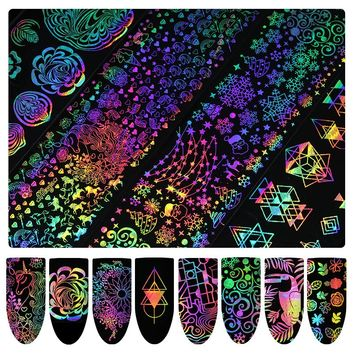 8 Pcs 4*20cm Holographic Nail Foil Xmas Unicorn Dreamcatcher Geometric Marble Shell Nail Art Transfer Sticker DIY Nail Decals