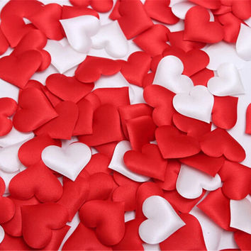100pcs Fabric Heart 3.5x3.5cm/2x1.5cm Wedding Party Confetti Table Decoration Valentine's Day birthday party Decorative Supplies