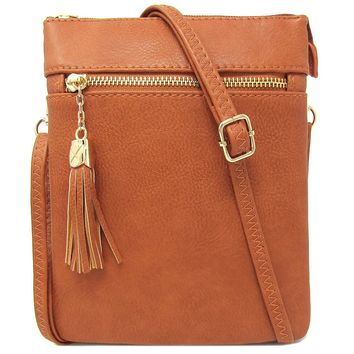 Solene Women's Faux Leather Variety Colors Fashionable Functional Multi Pocket Crossbody Bag