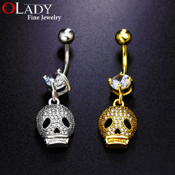 Belly button rings 2016 NEW Silver [ SKULL ] Fashion Top Quality Navel piercing body jewelry Sexy CZ Diamond belly piercing