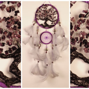 Burgundy Dream Catcher Tree of life Dreamcatcher Bordeaux Dream сatcher cat's-eye dreamcatchers decor handmade vinous unique gift birthday