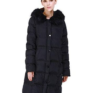 Puredown Women's Long Goose Down Coat with Faux-Fur Trim Hooded Jacket   canada goose women long
