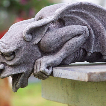 Worrywart Gargoyle,  gothic waterspout, medieval sculpture,cast stone art, garden statue, Richard Chalifour, carved element, architectural
