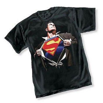 DC SUPERMAN FOREVER BY ALEX ROSS - BLACK ADULT Licensed T-Shirt - S-2XL