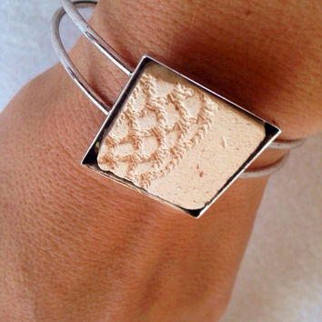 Handmade Essential oil diffuser antiqued silver plated cuff bracelet lace textured design 1 inch clay pottery piece in square bezel setting